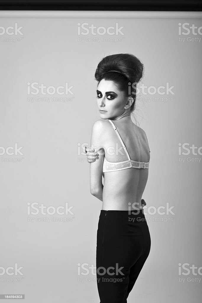 B&W Fashion portrait royalty-free stock photo