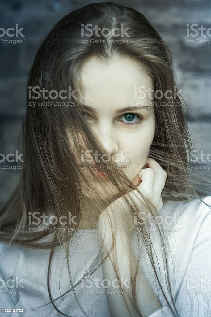 Fashion portrait young beautiful woman stock photo