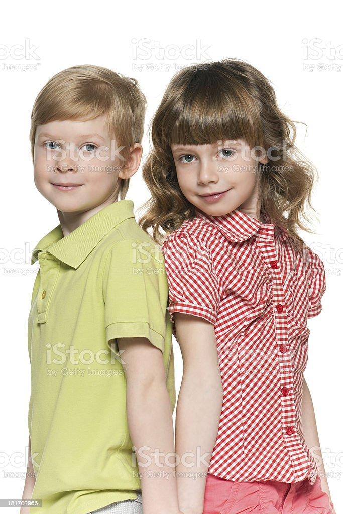 Fashion redhead girl and boy royalty-free stock photo