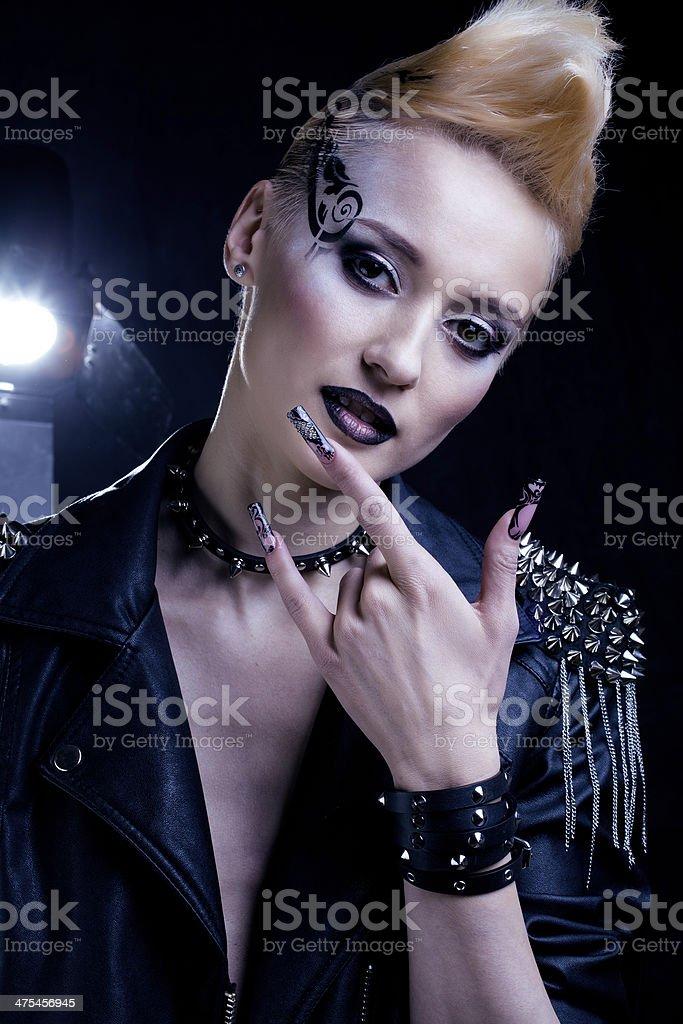 Fashion Rocker Style Model Girl Portrait stock photo