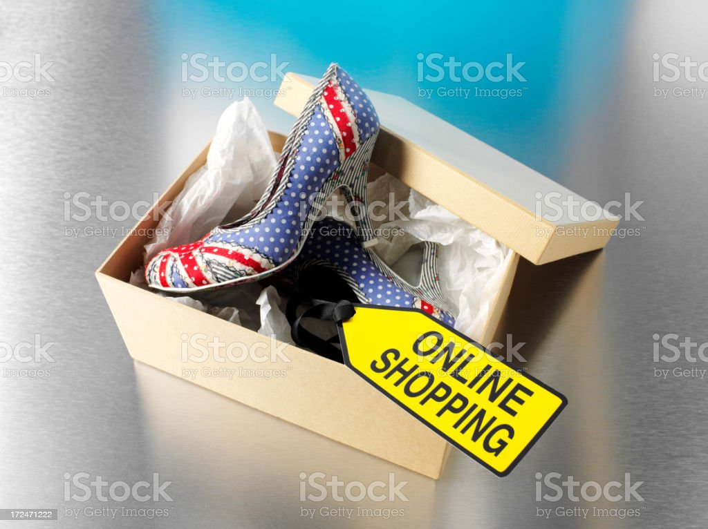 Fashion Shoes in a Box with Online Shopping Sign royalty-free stock photo