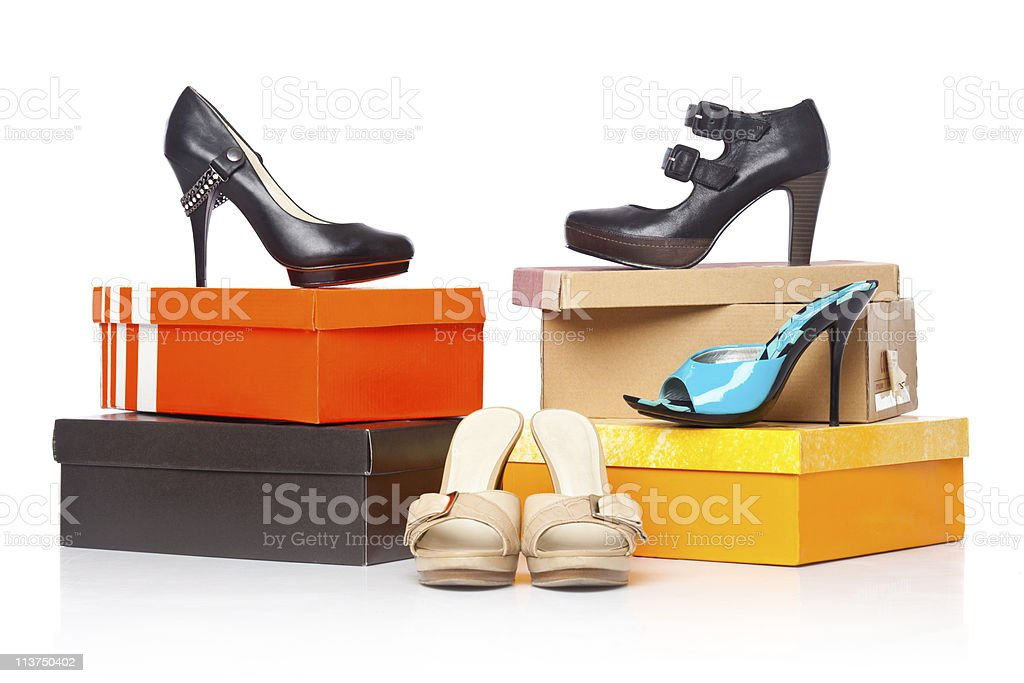fashion shoes on the boxes stock photo