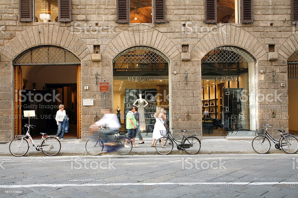 Fashion Shopping At Versace Florence Italy stock photo