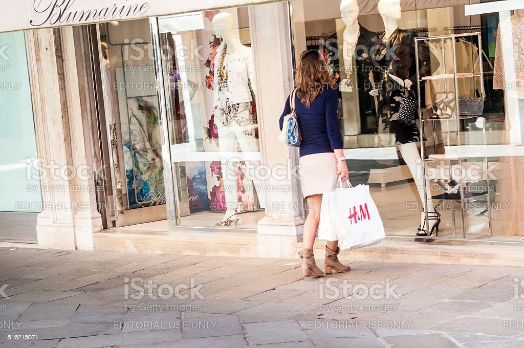 Fashion shopping in Venice stock photo