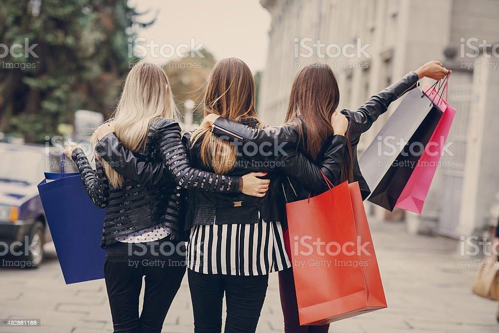 fashion shopping street stock photo