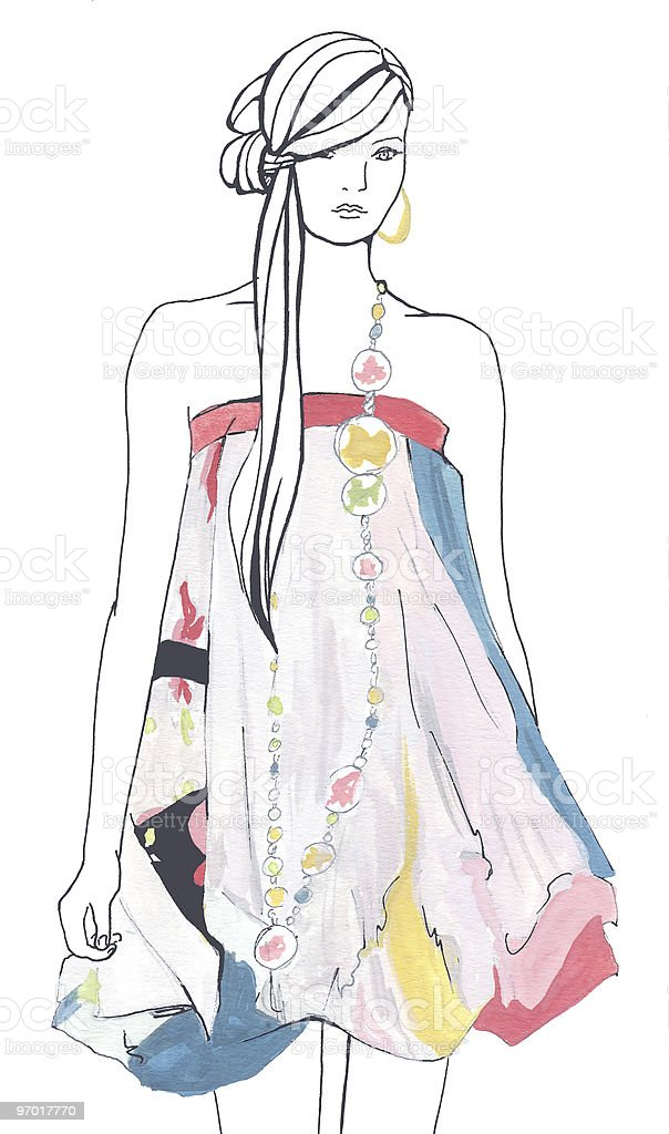 Fashion sketch of a woman wearing a colorful strapless dress stock photo