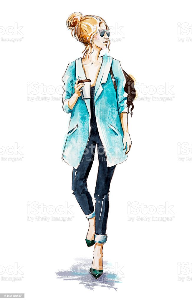 Fashion sketch. Street style. Girl with coffee. vector art illustration