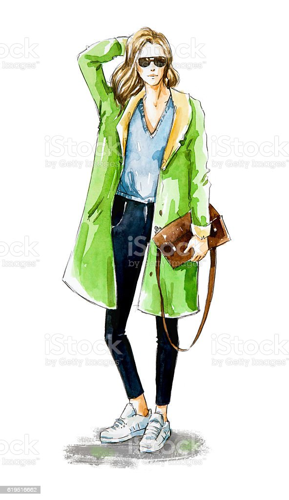 Fashion sketch. Street style. stock photo