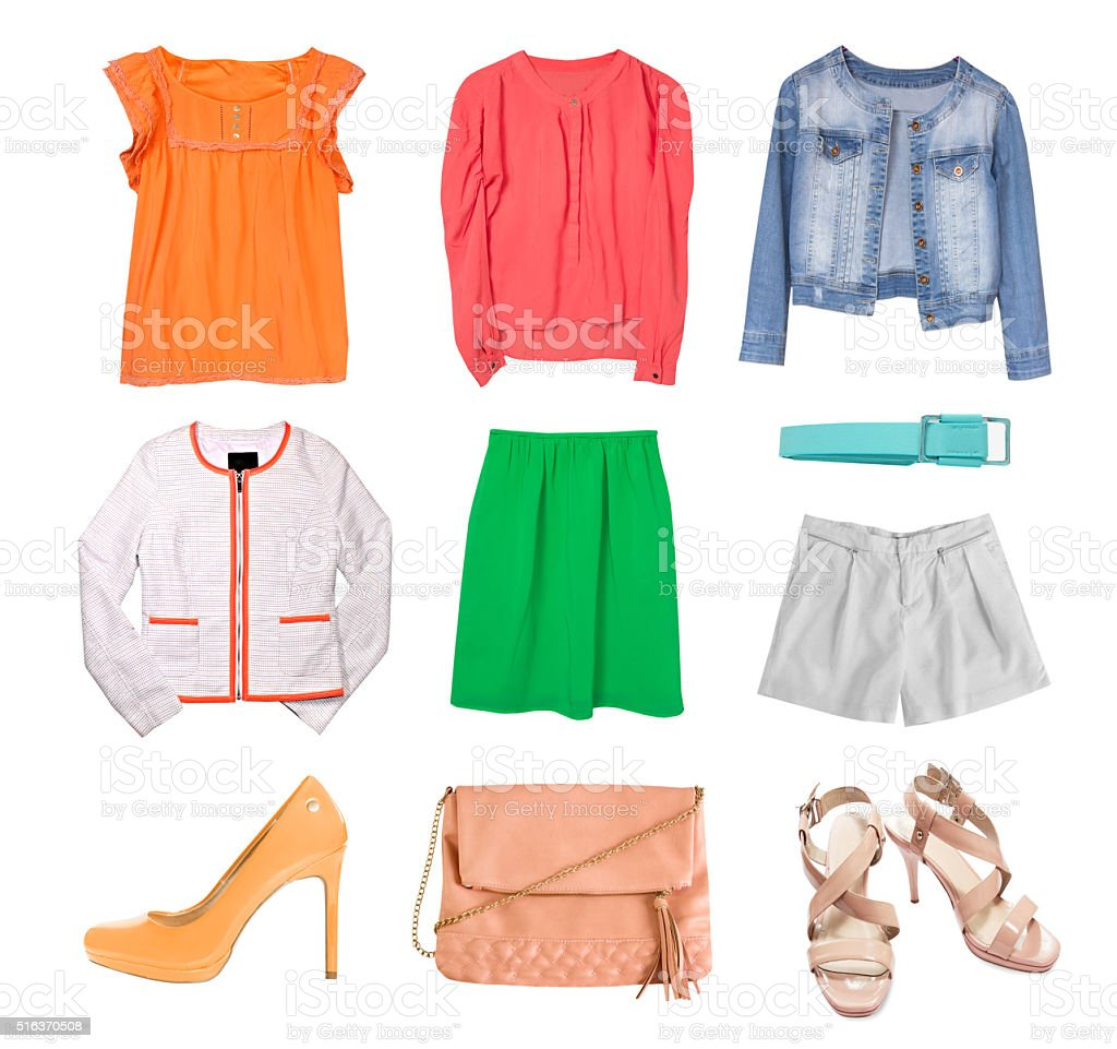 Fashion spring clothes set collage isolated. stock photo