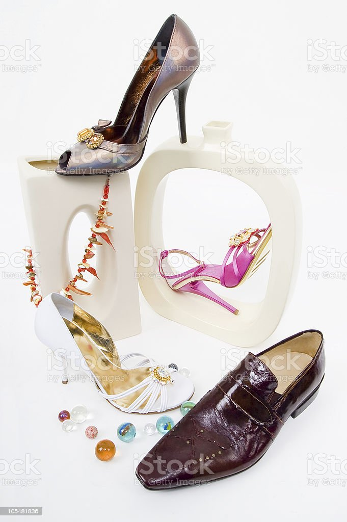 Fashion still-life with glamour shoes royalty-free stock photo