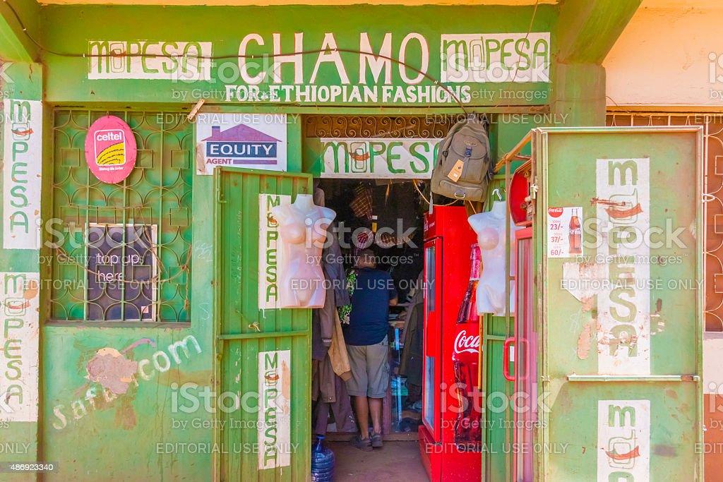 Fashion store in Marsabit, Kenya. stock photo