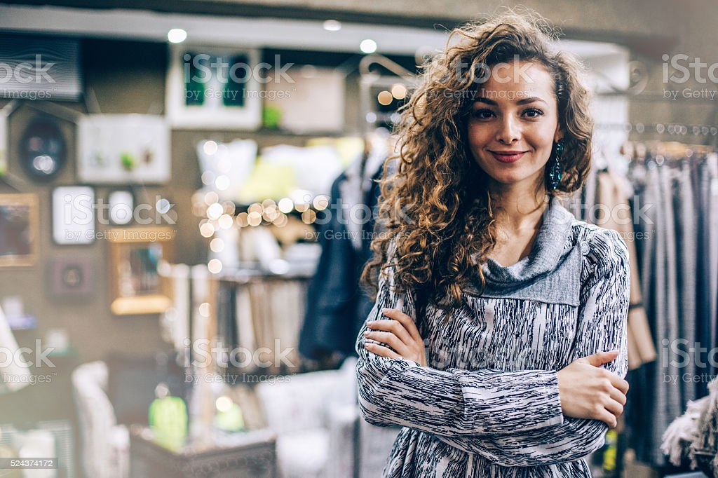 Fashion store owner stock photo