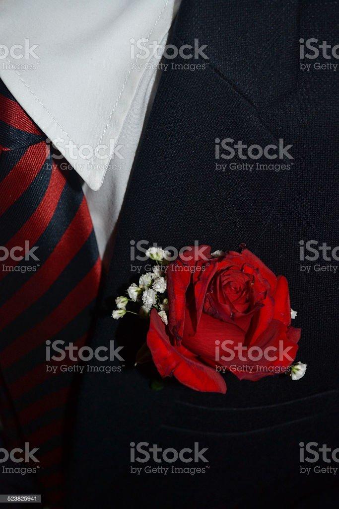 Fashion style. Flower on the jacket stock photo