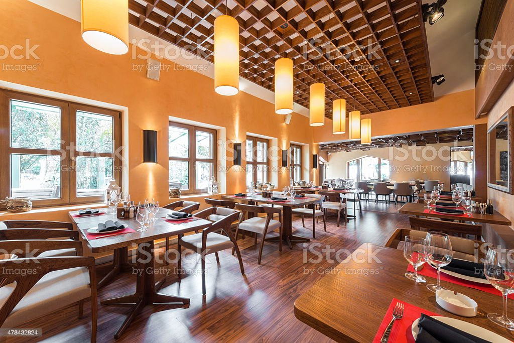 Fashion stylish restaurant interior stock photo
