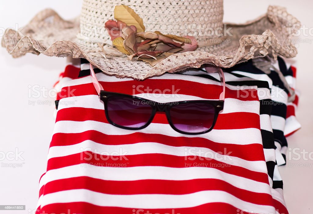 Fashion summer red cloth glass and hat stock photo