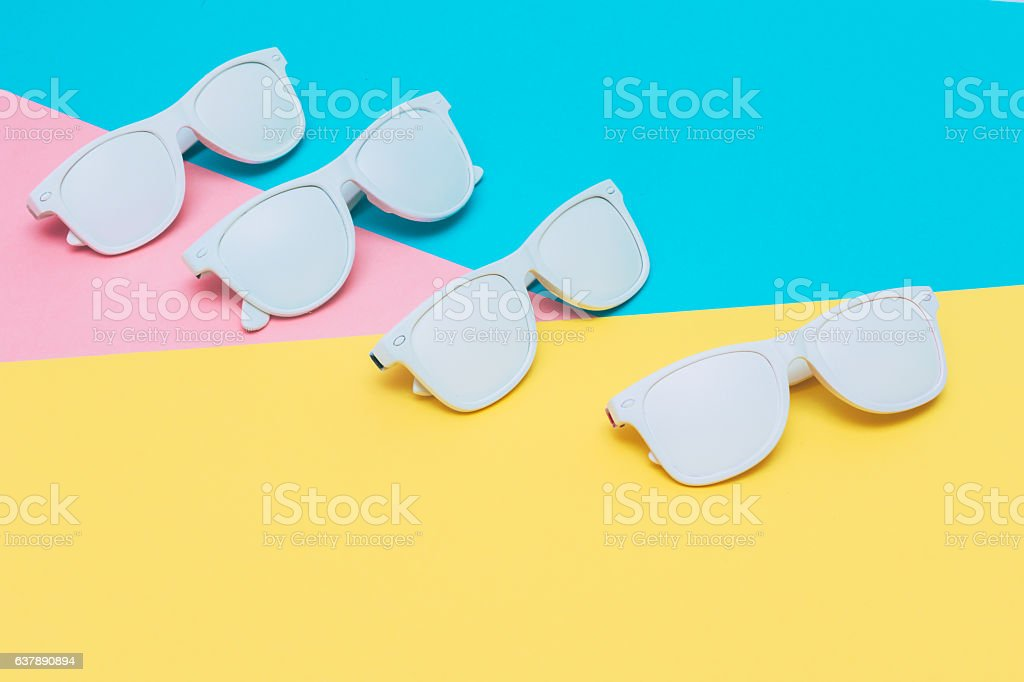 fashion sunglasses in white stock photo