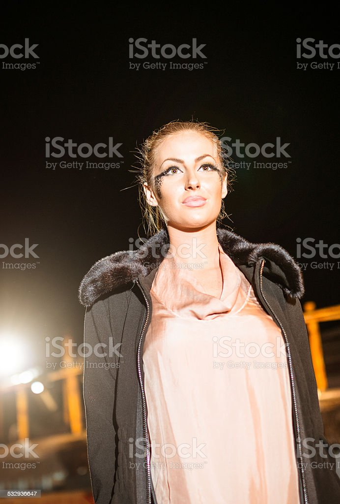 Fashion week catwalk, woman posing stock photo