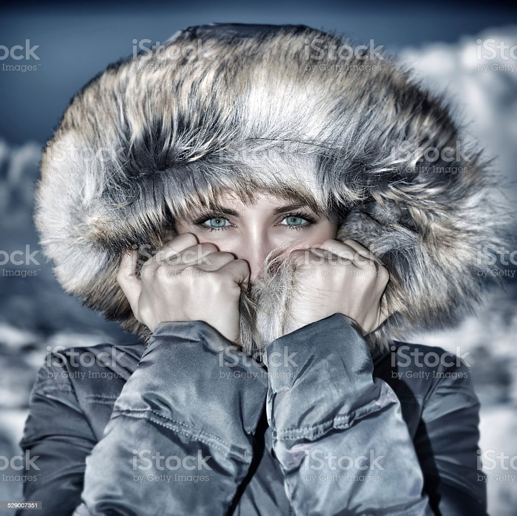 Fashion winter time look stock photo