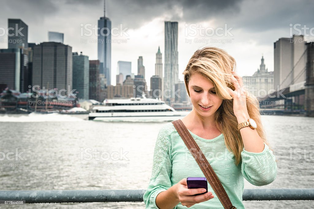 Fashion woman against the NYC skyline stock photo