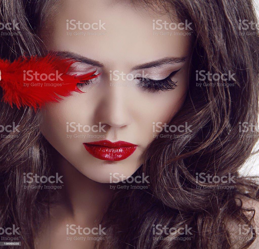 Fashion woman Beauty Portrait. Red Lips stock photo