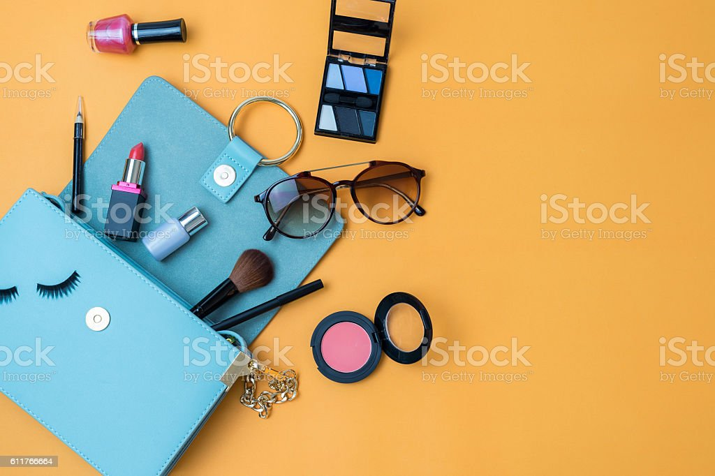 Fashion woman essentials, cosmetics, makeup accessories stock photo