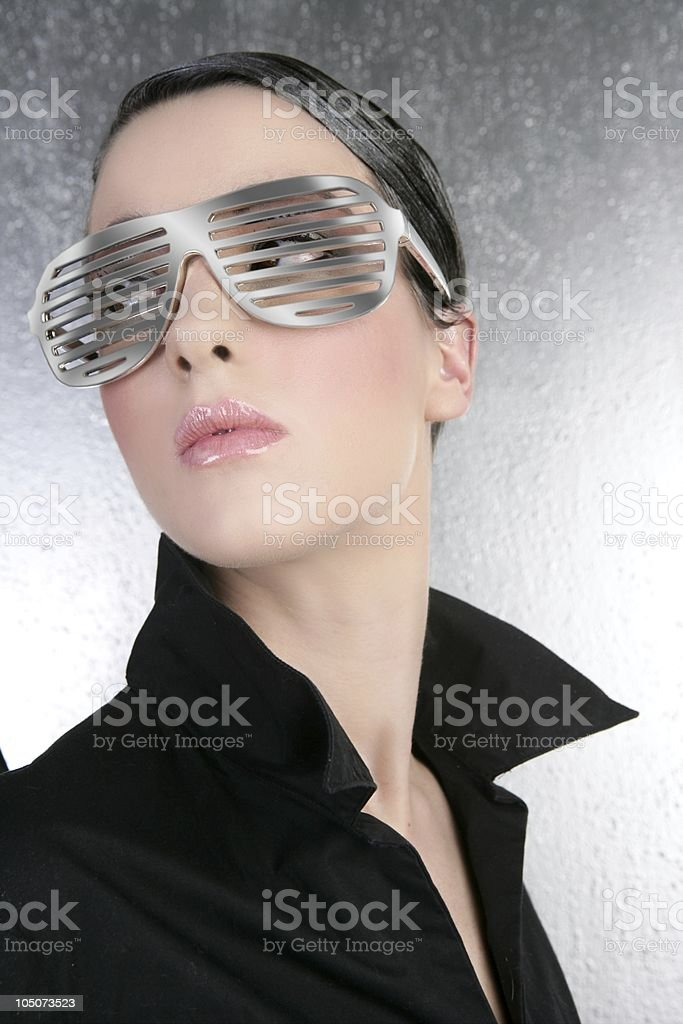 fashion woman futuristic silver glasses black shirt royalty-free stock photo