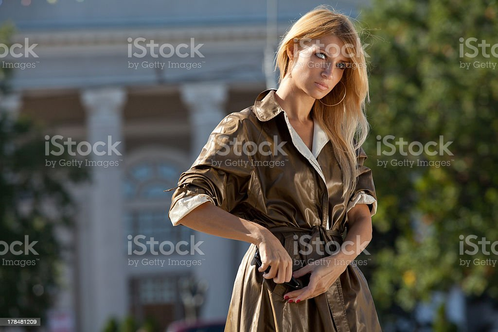Fashion woman in autumn city royalty-free stock photo