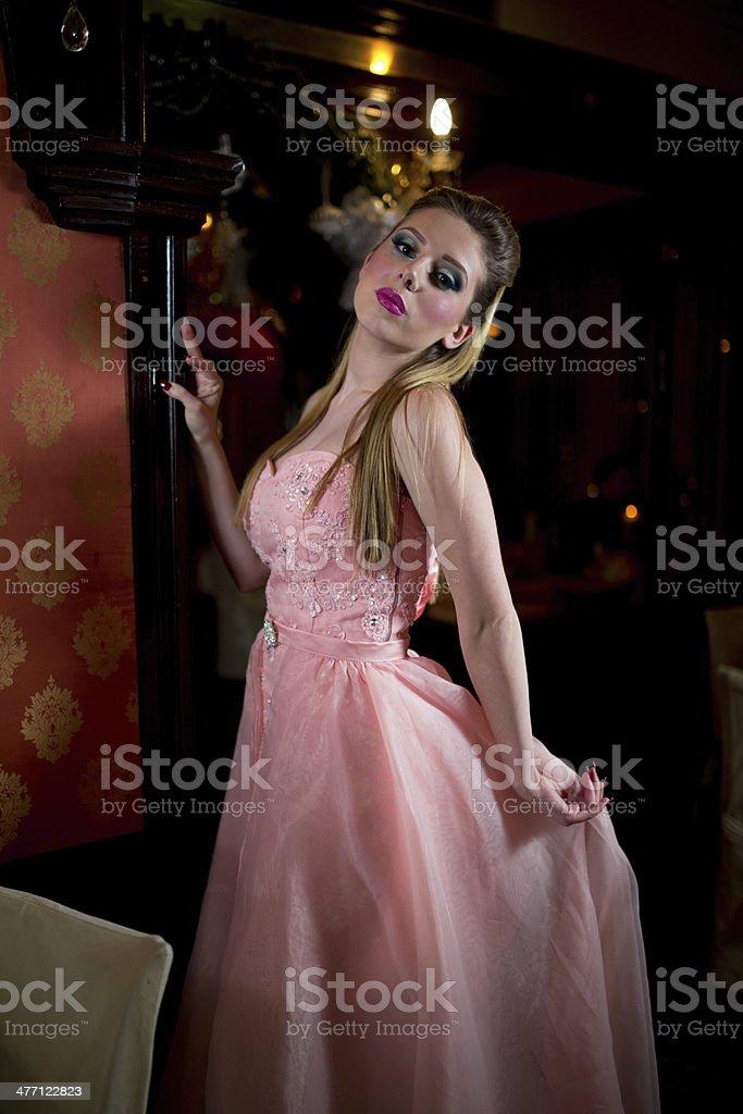 Fashion woman in restaurant stock photo