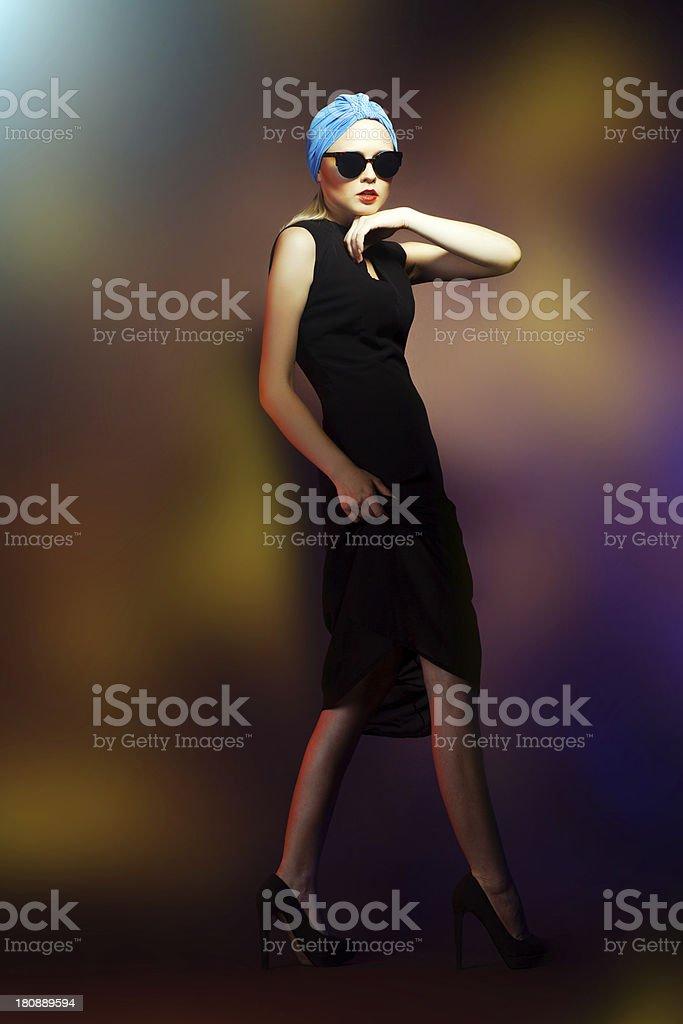 Fashion woman in sunglasses, studio shot. Professional makeup an royalty-free stock photo