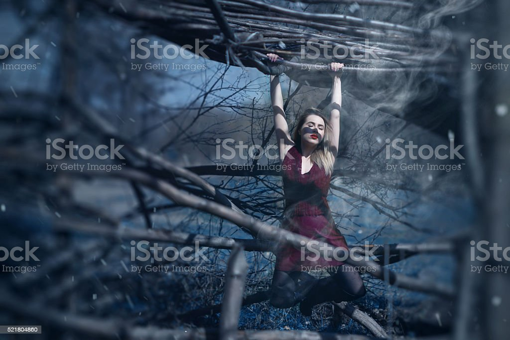 fashion woman in the woodland stock photo