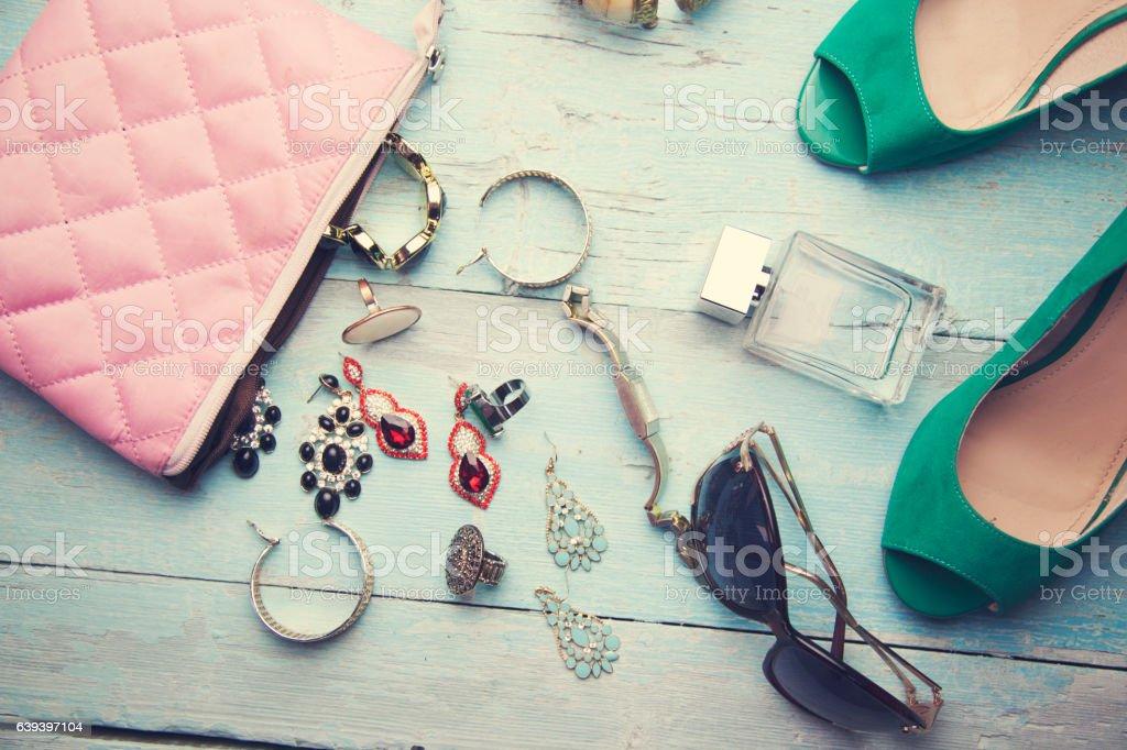 fashion woman objects stock photo