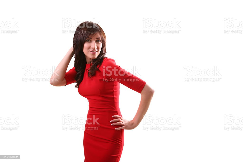 Fashion woman portrait. Female young model. Studio isolated , wh royalty-free stock photo