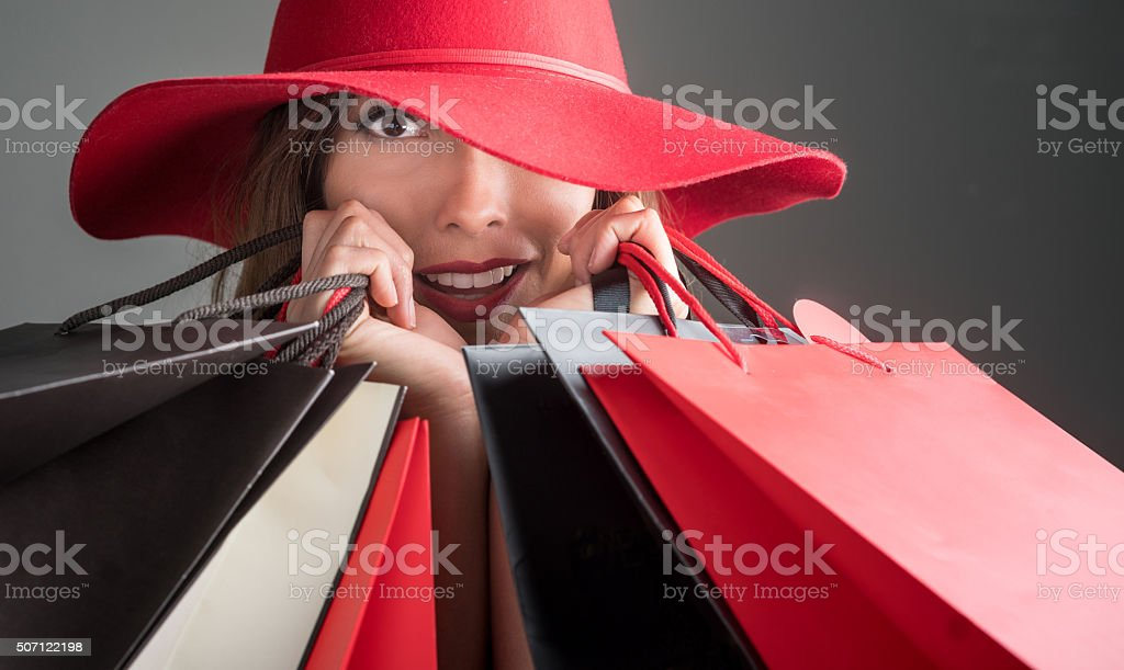 Fashion woman shopping stock photo