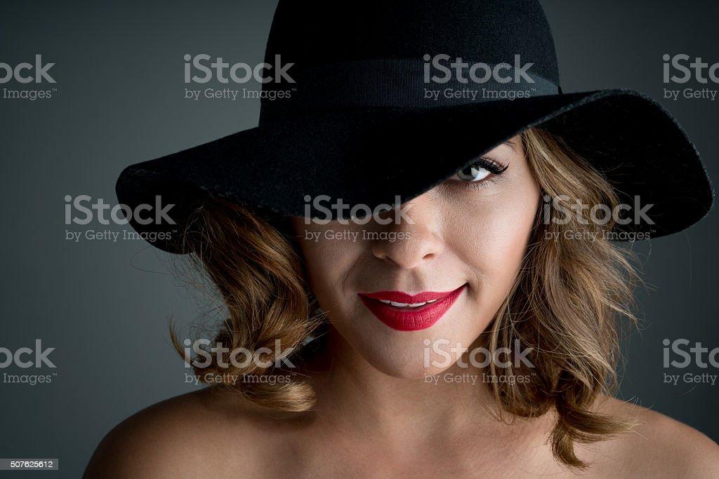 Fashion woman wearing a hat stock photo