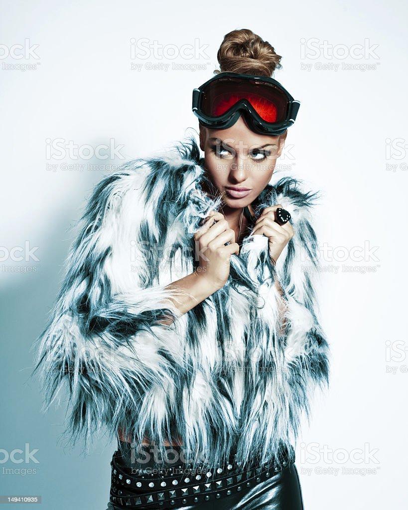 Fashion Woman, Winter Portrait royalty-free stock photo