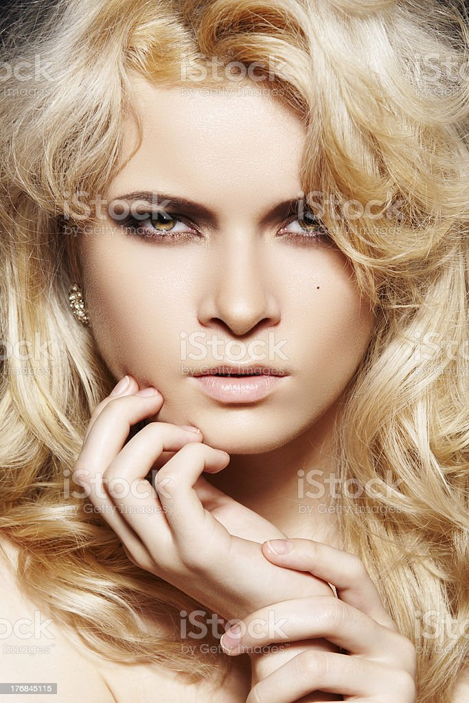 Fashion woman with chic make-up & long blond hair royalty-free stock photo