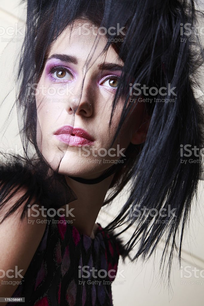 Fashion woman with interesting hat royalty-free stock photo
