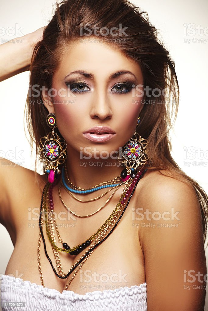 fashion woman with jewelry royalty-free stock photo