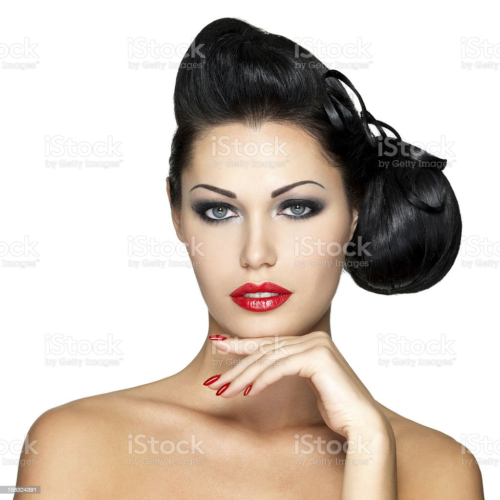 fashion woman with red lips, nails and creative hairstyle royalty-free stock photo