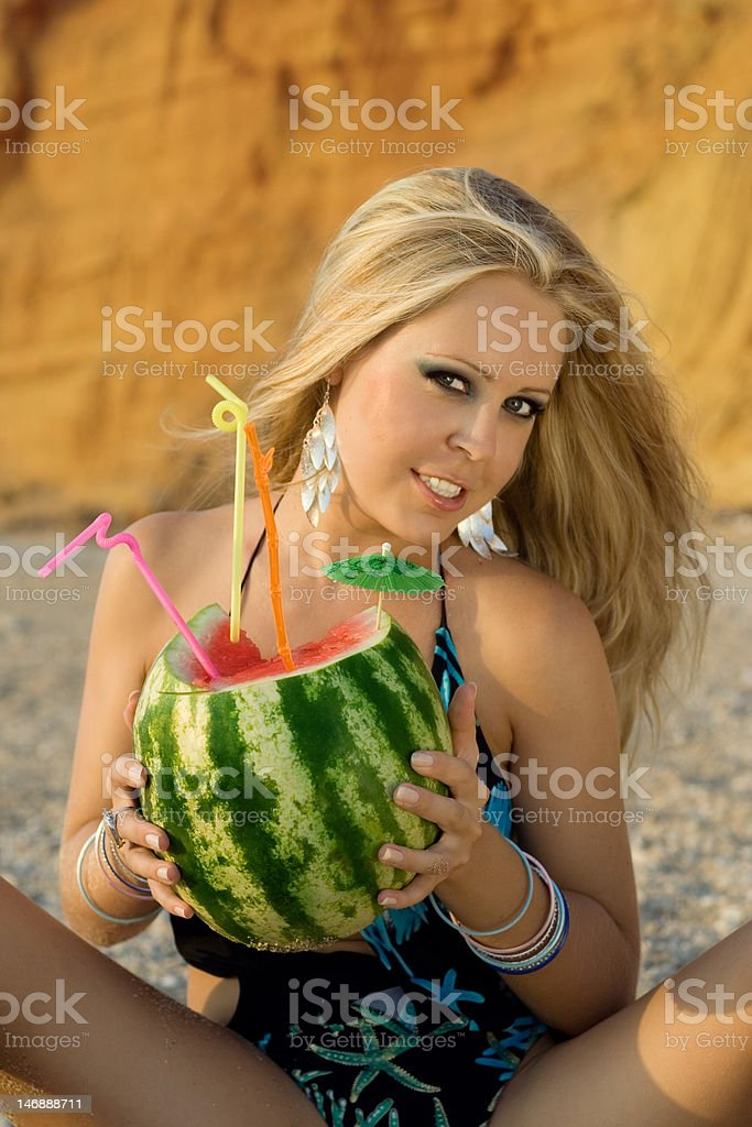 fashion woman with watermelon royalty-free stock photo