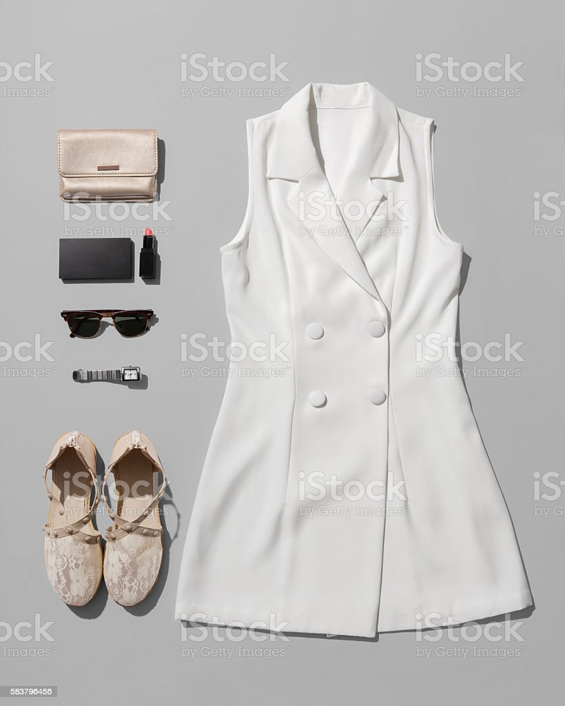 Fashion women accessories of  costume isolated on white stock photo