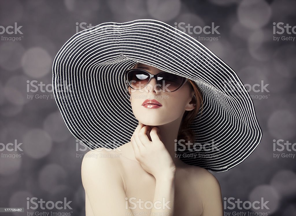Fashion women in wide hat royalty-free stock photo