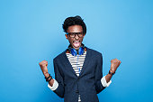 Fashionable afro american guy expressing happiness