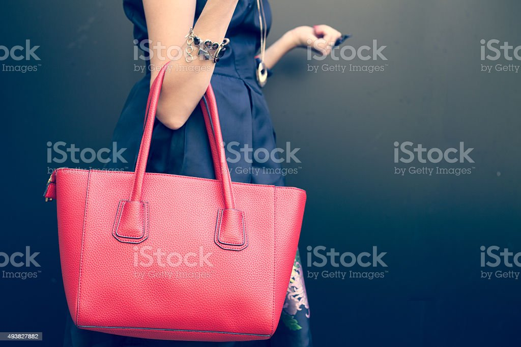Fashionable beautiful big red handbag stock photo