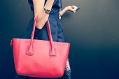 Fashionable beautiful big red handbag