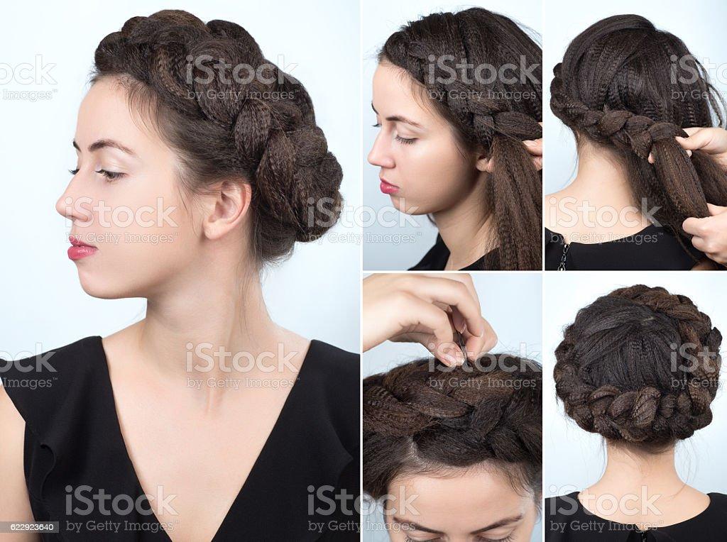 fashionable braid hairstyle tutorial stock photo