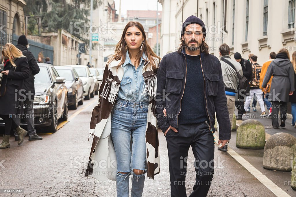 Fashionable couple at Milan Fashion Week stock photo
