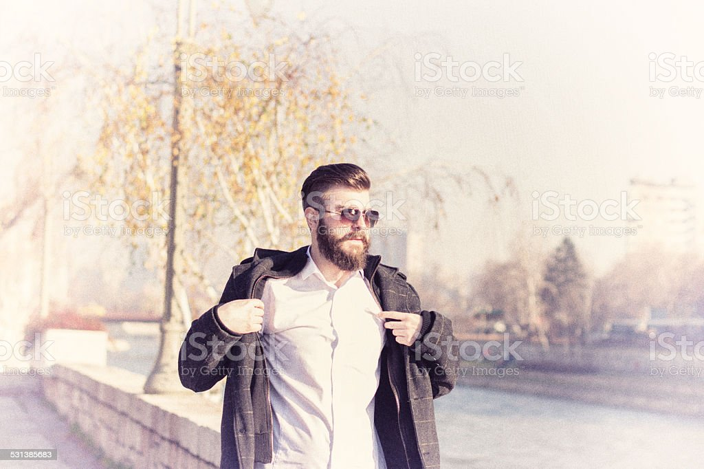 Fashionable Hipster style bearded man stock photo
