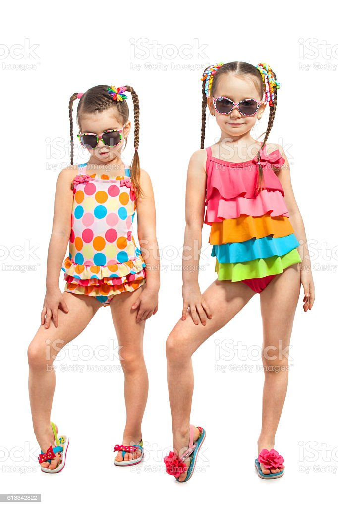 Fashionable kids in swimsuit. Isolated on white background stock photo