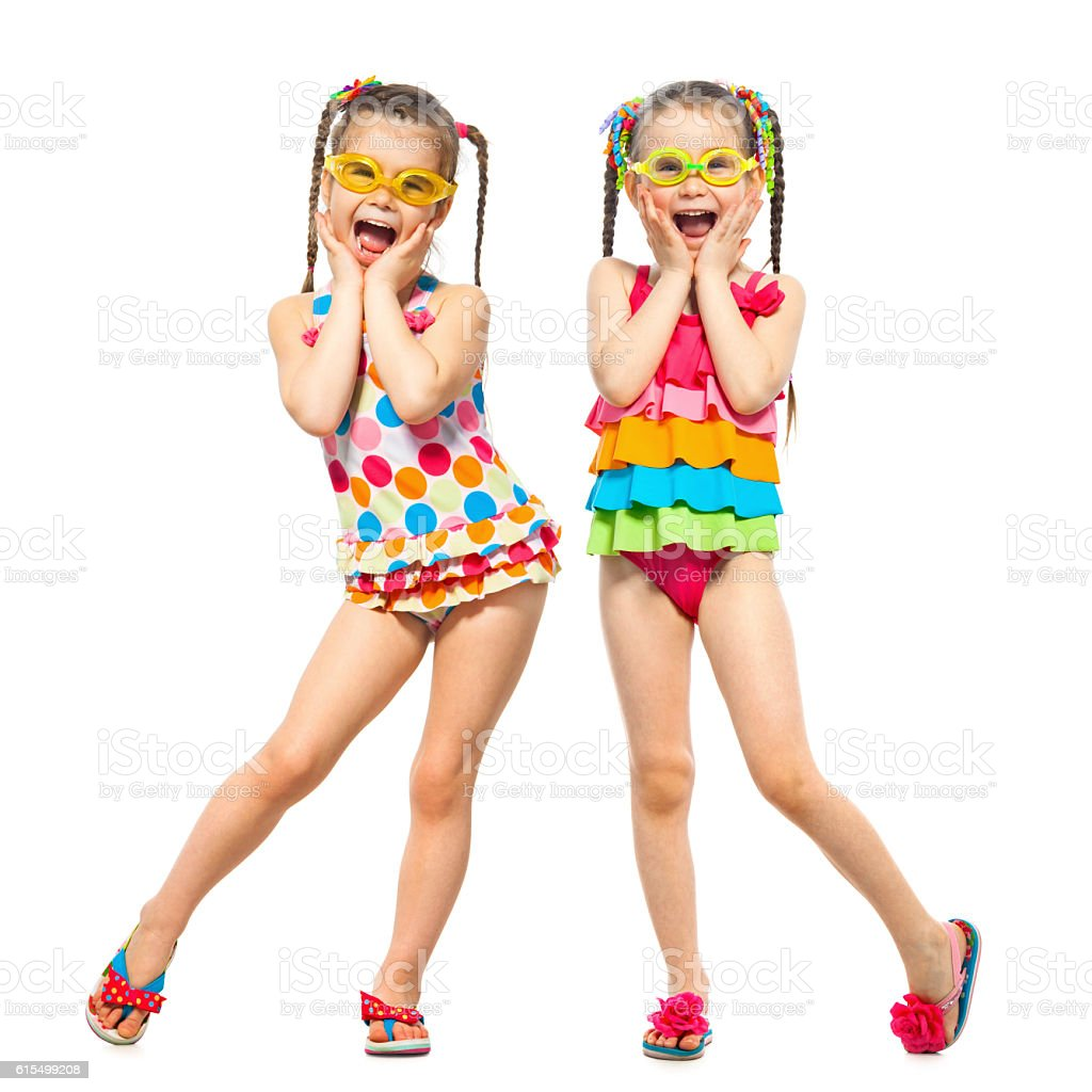 Fashionable kids in swimsuit. Isolated on white background. Summer fashion stock photo